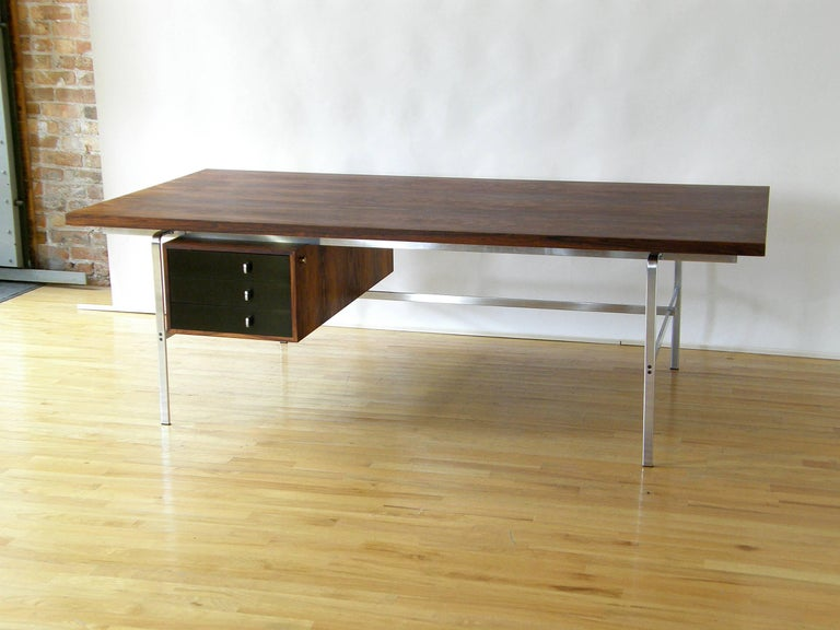 Rosewood and Chrome Desk by Preben Fabricius and Jørgen Kastholm 3