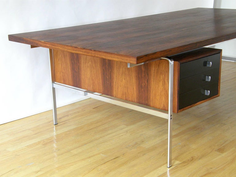 Rosewood and Chrome Desk by Preben Fabricius and Jørgen Kastholm 7