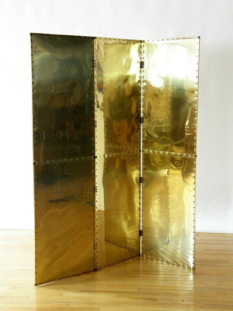 Late 20th Century Riveted Brass Folding Screen For Sale