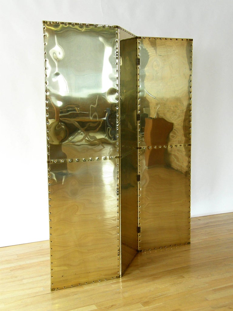 Riveted Brass Folding Screen In Good Condition For Sale In Chicago, IL