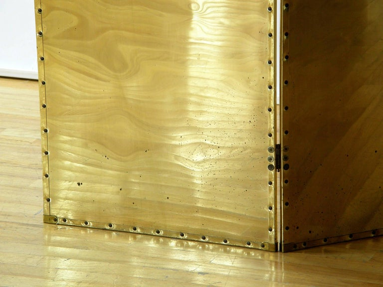 Riveted Brass Folding Screen For Sale 2