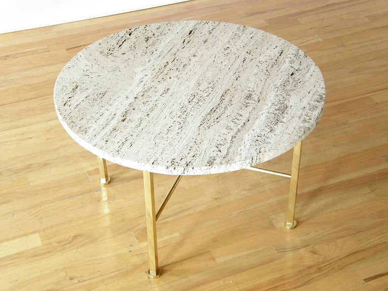 Frederick C. Boger Brass and Travertine Coffee Table 2