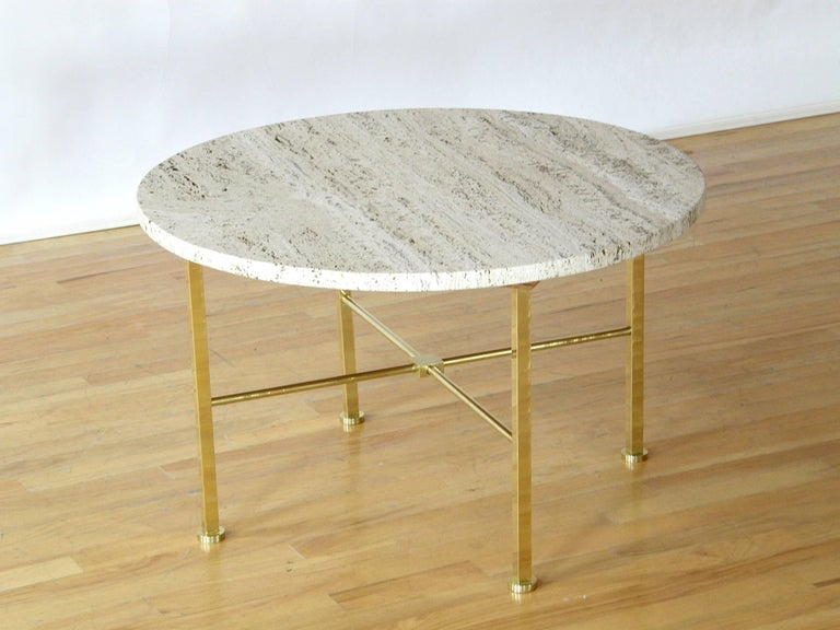 Frederick C. Boger Brass and Travertine Coffee Table 3