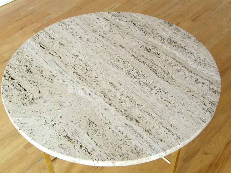 Frederick C. Boger Brass and Travertine Coffee Table 5