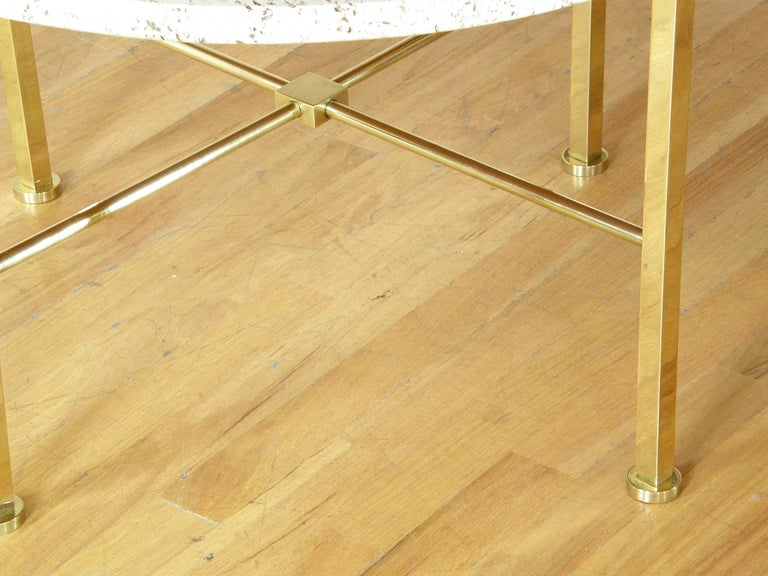 Frederick C. Boger Brass and Travertine Coffee Table 6