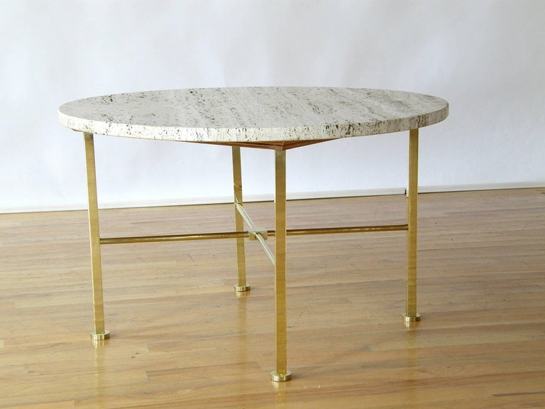 American Frederick C. Boger Brass and Travertine Coffee Table For Sale