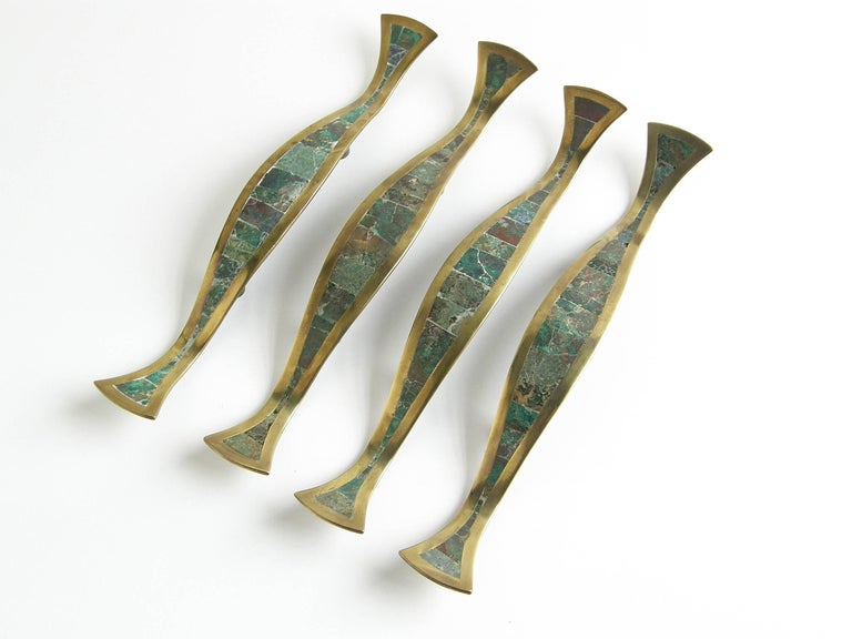 Mid-Century Modern Los Castillo Brass Handles with Inlaid Stone For Sale