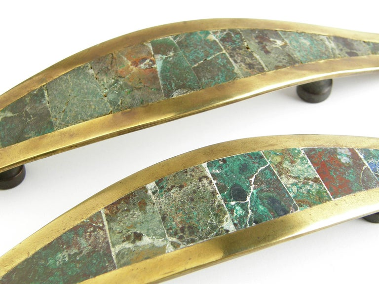 Mid-20th Century Los Castillo Brass Handles with Inlaid Stone For Sale