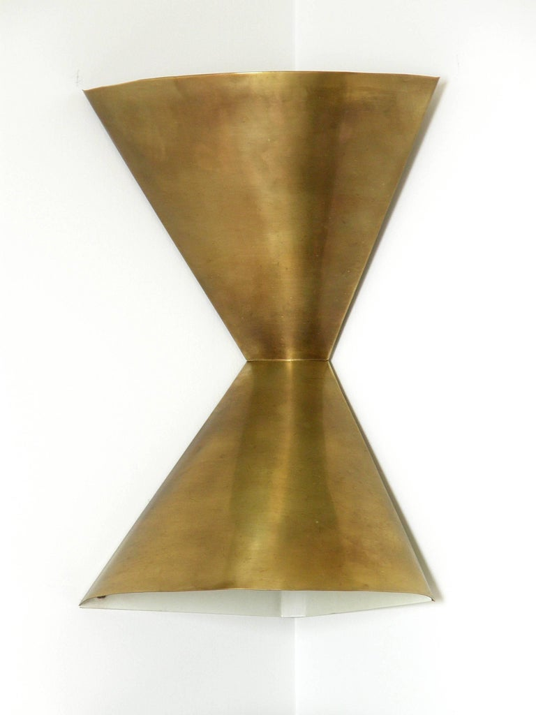 Edward Wormley Brass Corner Lamps for Lightolier 4