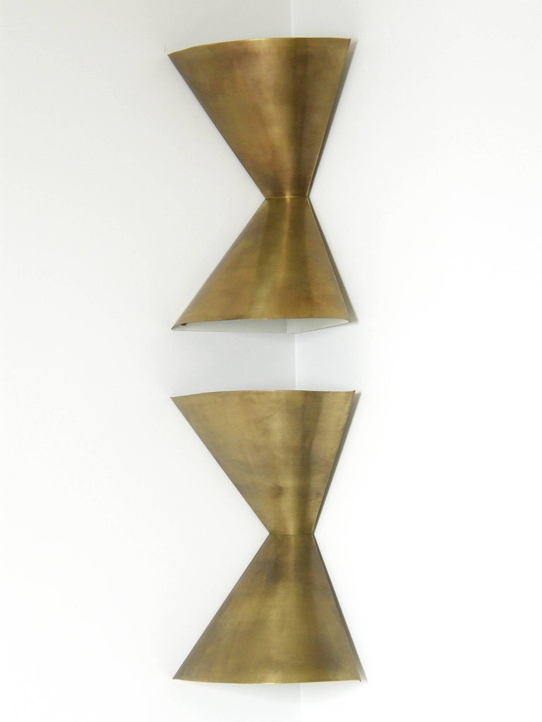 Edward Wormley Brass Corner Lamps for Lightolier 2
