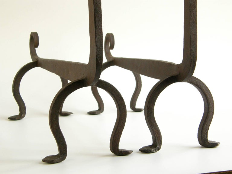 Figural Wrought Iron Fire Dog Andirons 9