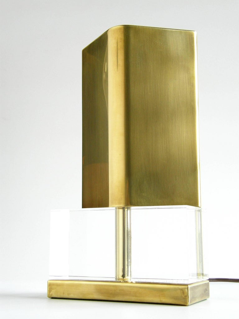 American Chapman Lucite and Brass Reflector Lamp For Sale