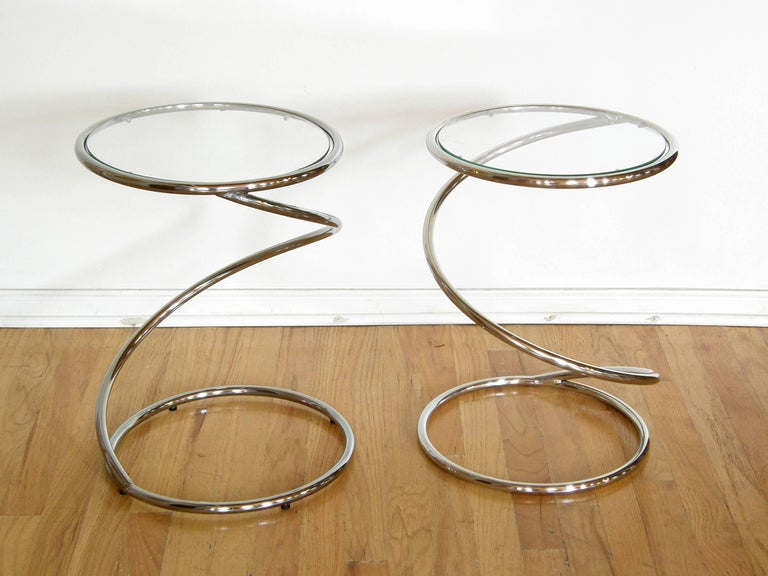 Pair of Chrome and Glass Spiral Side Tables 2