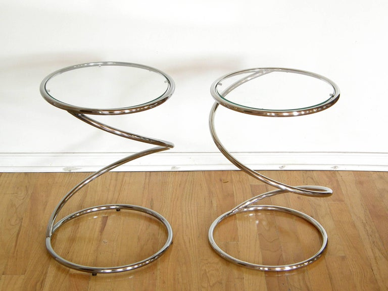 Pair of Chrome and Glass Spiral Side Tables 3