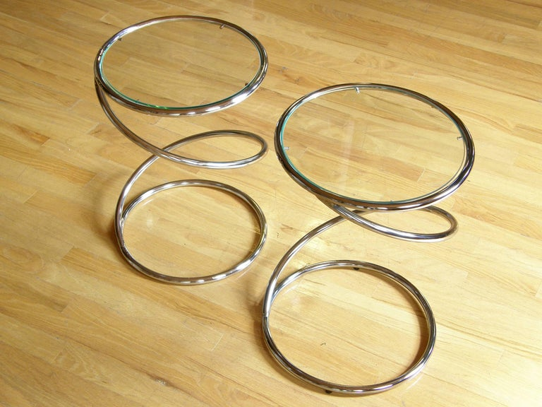 Pair of Chrome and Glass Spiral Side Tables 4