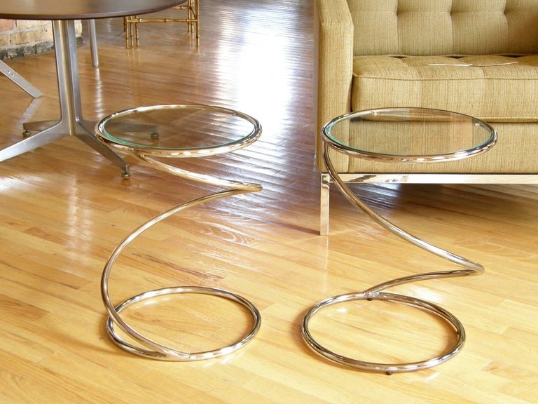 Pair of Chrome and Glass Spiral Side Tables 5