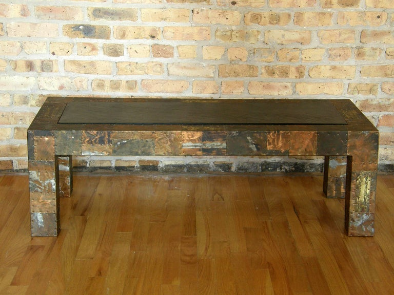 Late 20th Century H. A. Larson Brutalist Patchwork Coffee Table with Slate Top For Sale