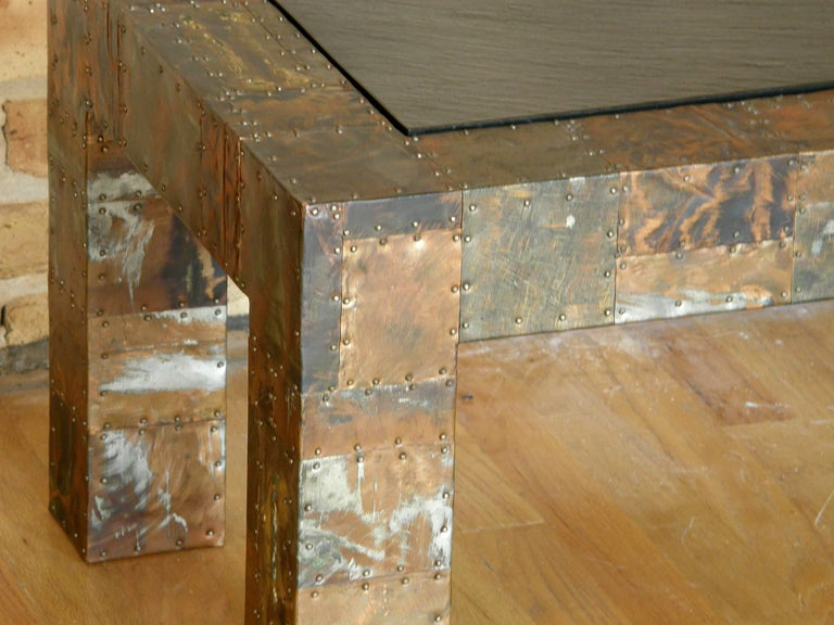 H. A. Larson Brutalist Patchwork Coffee Table with Slate Top 7