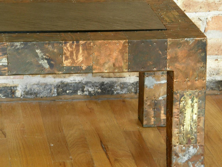 Brass H. A. Larson Brutalist Patchwork Coffee Table with Slate Top For Sale