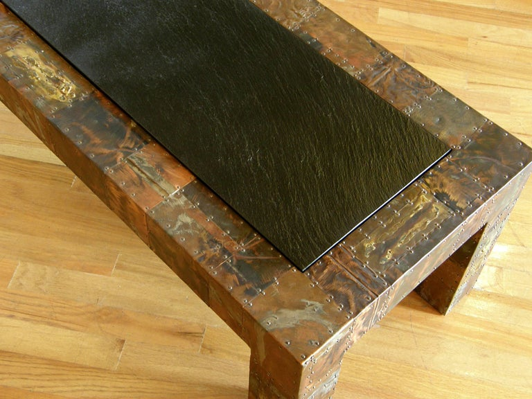 Patinated H. A. Larson Brutalist Patchwork Coffee Table with Slate Top For Sale
