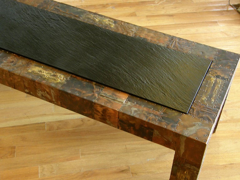 H. A. Larson Brutalist Patchwork Coffee Table with Slate Top In Excellent Condition For Sale In Chicago, IL