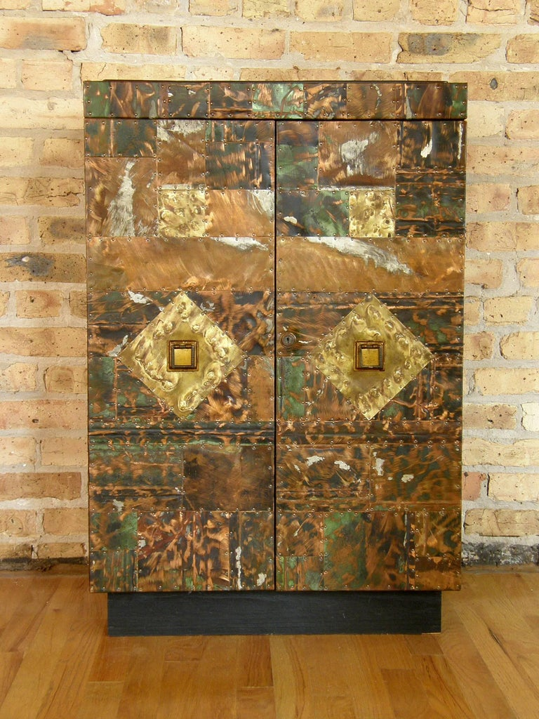 H. A. Larson Brutalist Patchwork Bar Cabinet with Slate Top 4