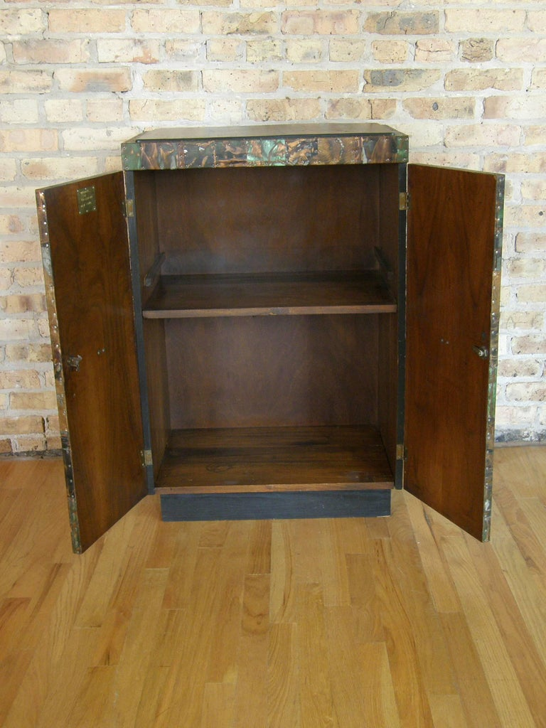 H. A. Larson Brutalist Patchwork Bar Cabinet with Slate Top 3