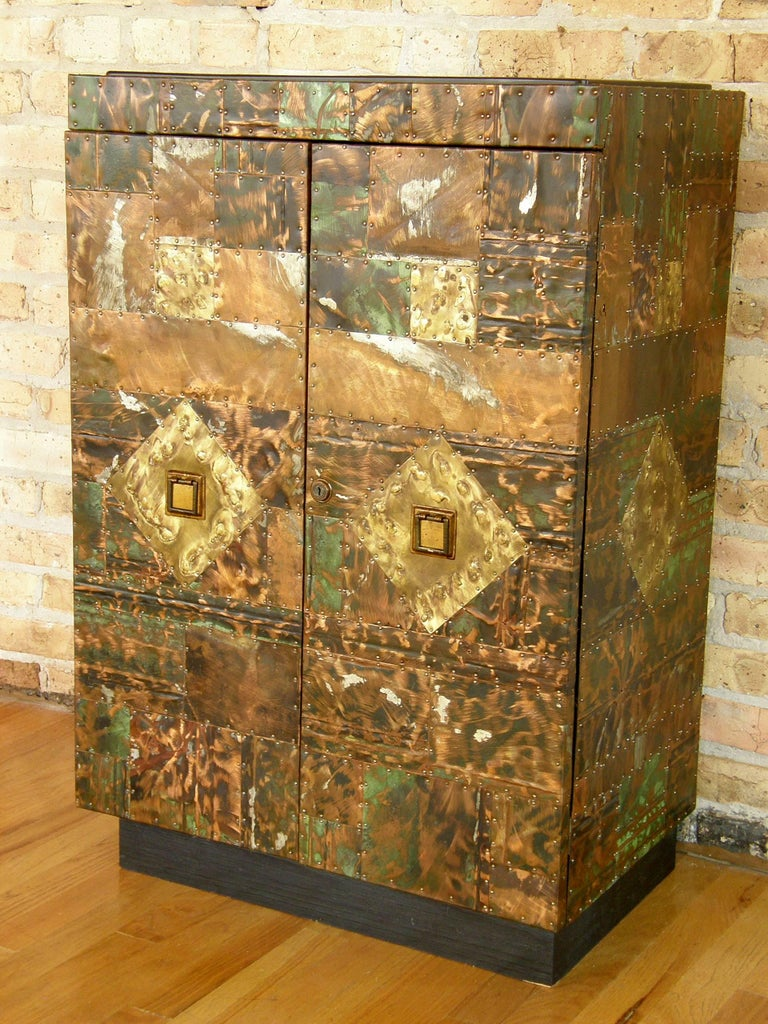 H. A. Larson Brutalist Patchwork Bar Cabinet with Slate Top 6