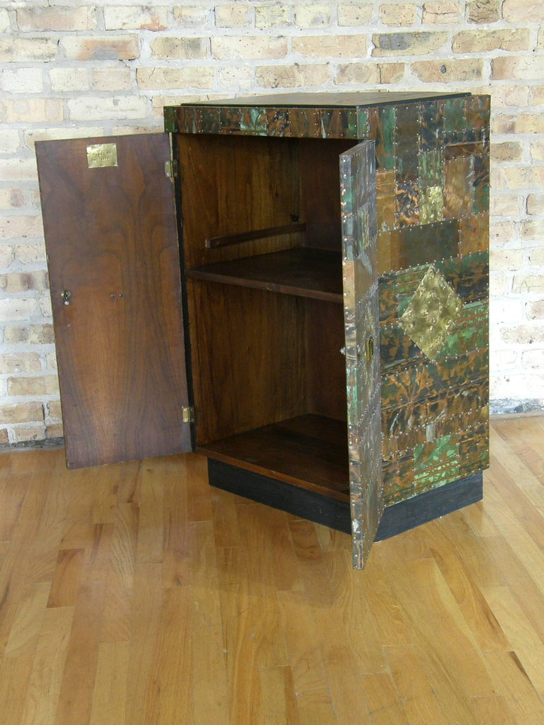H. A. Larson Brutalist Patchwork Bar Cabinet with Slate Top 2