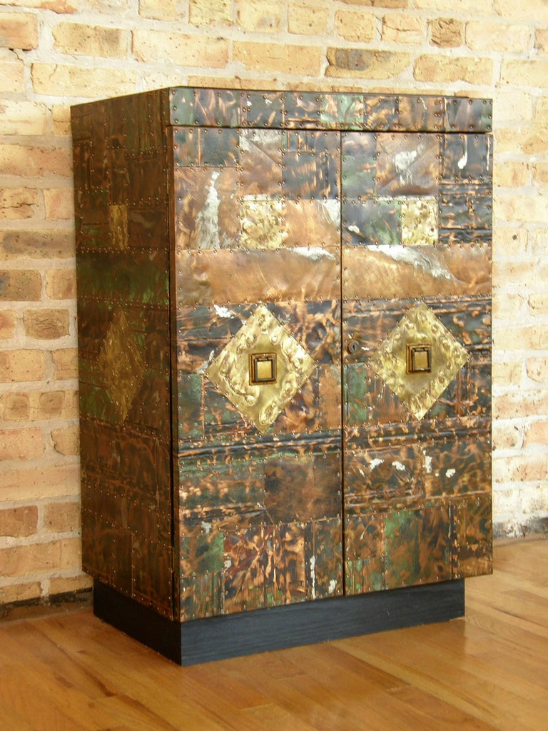 H. A. Larson Brutalist Patchwork Bar Cabinet with Slate Top 5