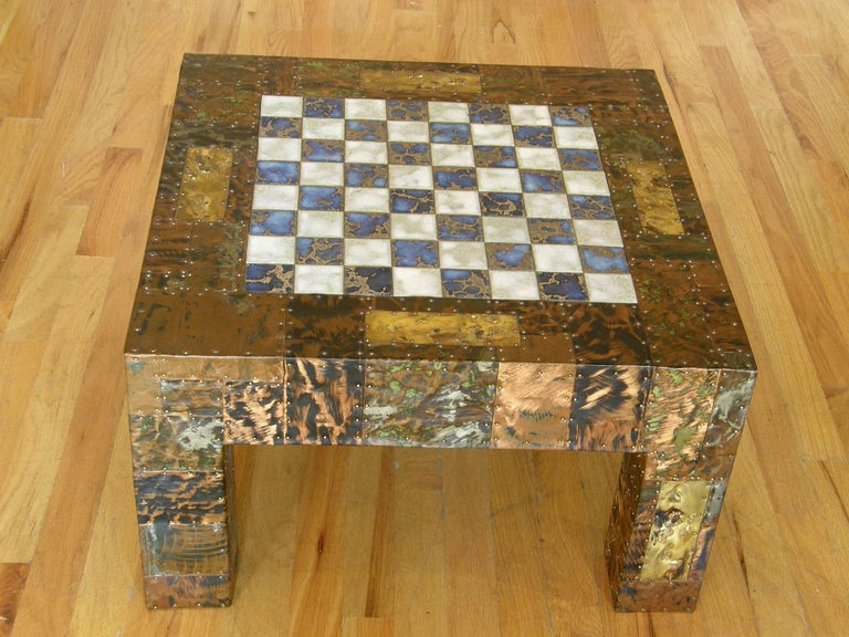 H. A. Larson Brutalist Patchwork Chess Table with Ceramic Tile Top In Excellent Condition For Sale In Chicago, IL
