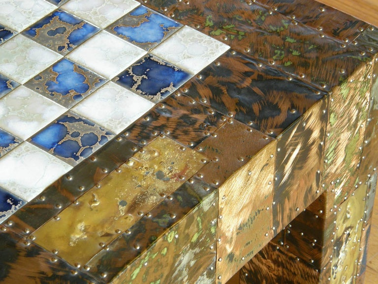 H. A. Larson Brutalist Patchwork Chess Table with Ceramic Tile Top For Sale 1