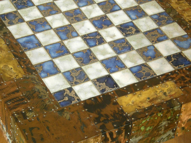 Late 20th Century H. A. Larson Brutalist Patchwork Chess Table with Ceramic Tile Top For Sale