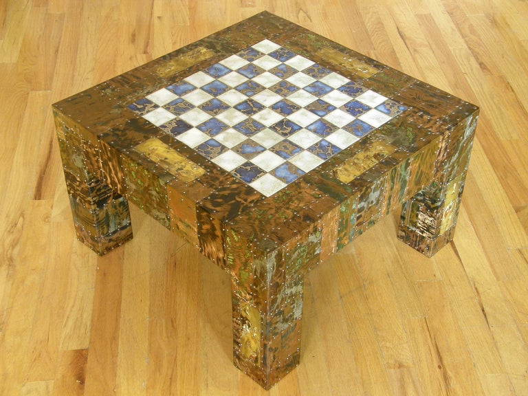 H. A. Larson Brutalist Patchwork Chess Table with Ceramic Tile Top 10