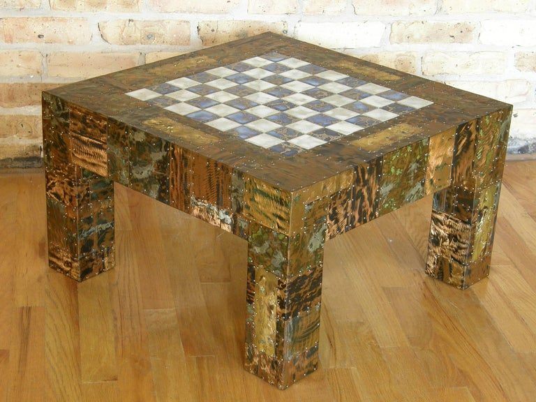 Patinated H. A. Larson Brutalist Patchwork Chess Table with Ceramic Tile Top For Sale