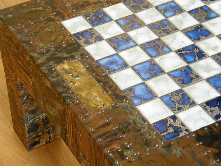 H. A. Larson Brutalist Patchwork Chess Table with Ceramic Tile Top For Sale 2