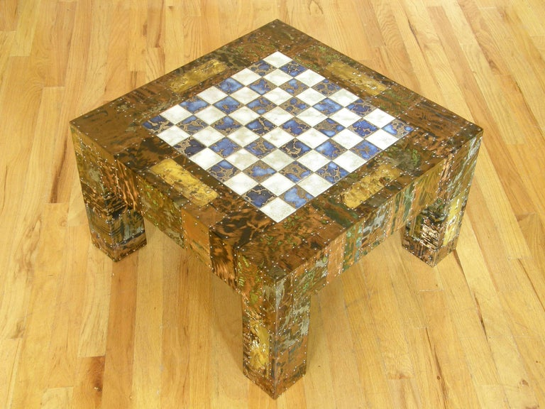 H. A. Larson Brutalist Patchwork Chess Table with Ceramic Tile Top For Sale 3