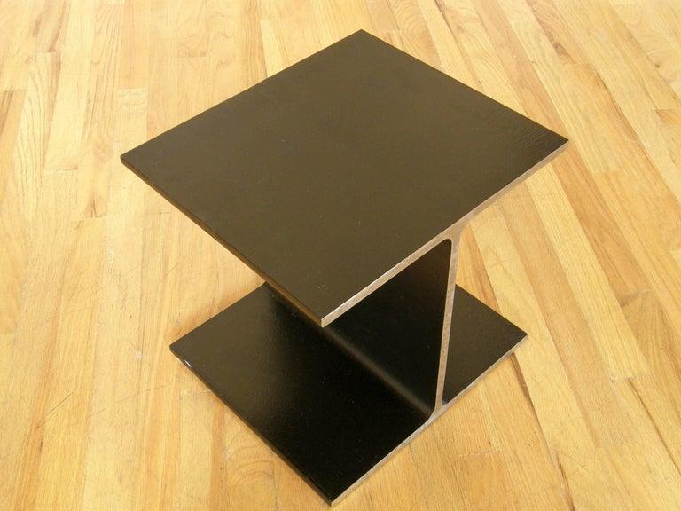 Enameled Steel Side Table Shaped like an I-Beam For Sale