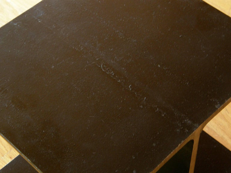 Mid-20th Century Steel Side Table Shaped like an I-Beam For Sale