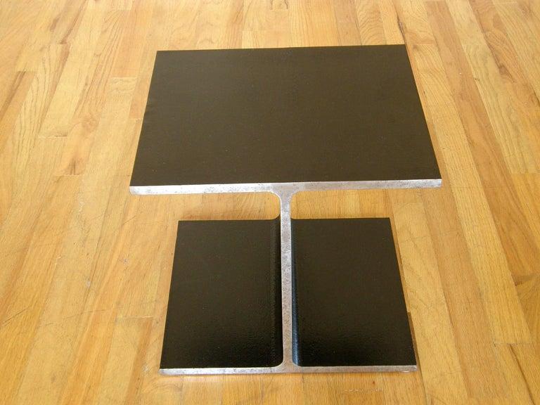 Steel Side Table Shaped like an I-Beam 4