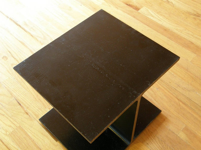Steel Side Table Shaped like an I-Beam In Good Condition For Sale In Chicago, IL
