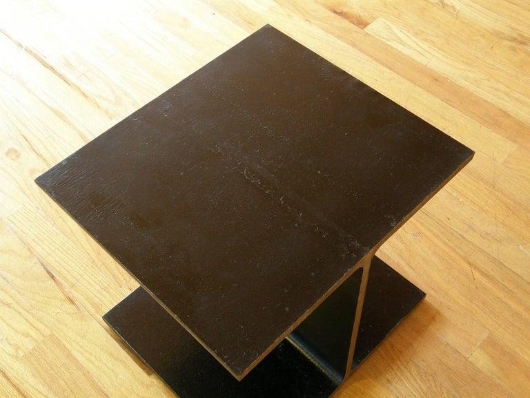 Steel Side Table Shaped like an I-Beam 6