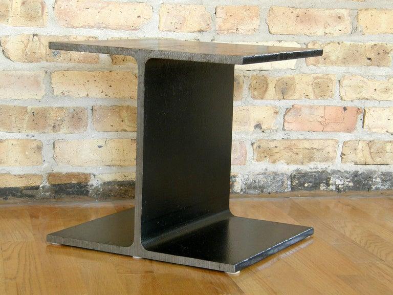 Minimalist Steel Side Table Shaped like an I-Beam For Sale