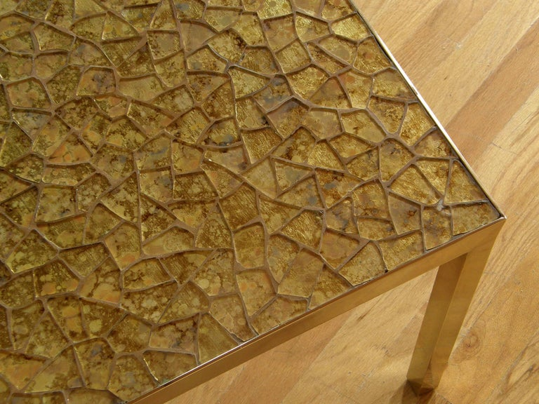 Broken Glass Mosaic Cocktail Table with Brass Frame For Sale 3