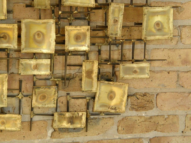 1974 Brutalist Nails Wall Sculpture with Brass Rectangles Signed Charles For Sale 2