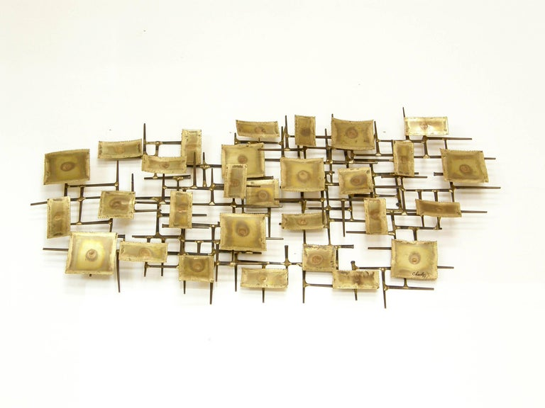 1974 Brutalist Nails Wall Sculpture with Brass Rectangles Signed Charles In Good Condition For Sale In Chicago, IL