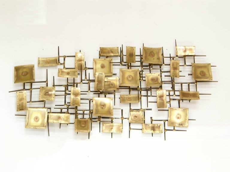 Late 20th Century 1974 Brutalist Nails Wall Sculpture with Brass Rectangles Signed Charles For Sale