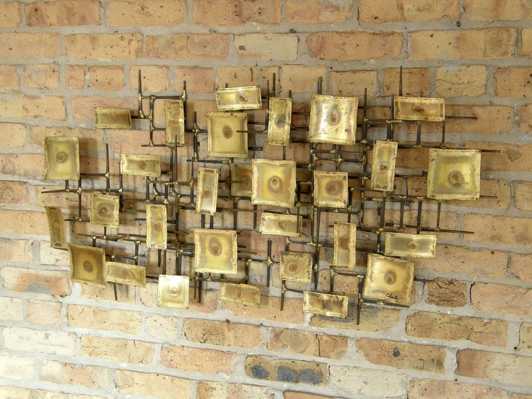 American 1974 Brutalist Nails Wall Sculpture with Brass Rectangles Signed Charles For Sale