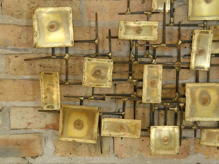 1974 Brutalist Nails Wall Sculpture with Brass Rectangles Signed Charles For Sale 1