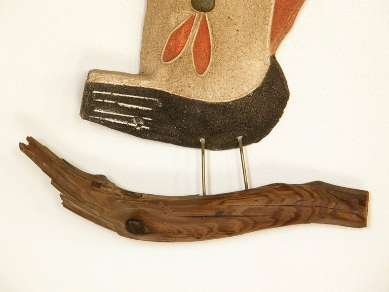 Mid-Century Modern Sand Cast Wall Sculpture of a Bird on a Branch by George Nelson For Sale